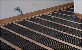 Low voltage radiant floor heating system.